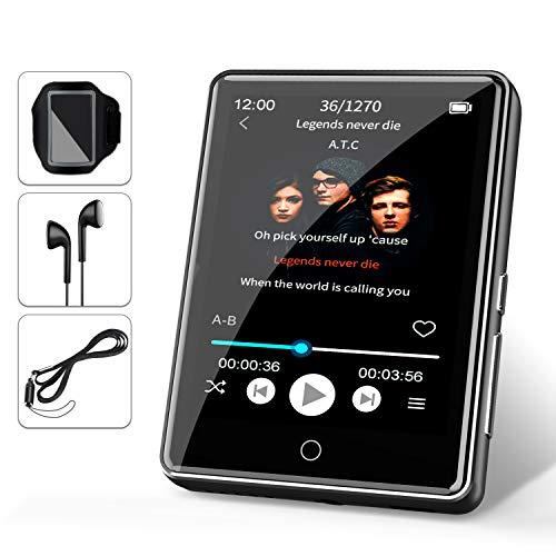 """32G MP3 Player JBHOO 2.8"""" MP3 Bluetooth 5.0, MP3 mit Lautsprecher, FM Radio, Schrittzähler, Aufzeichnung, Voller Touchscreen Unterstützt bis zu 128 GB (Lanyard, Sportarmband Inklusive)"""