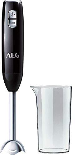 AEG STM 3200 Stabmixer / 600 Watt / 2-Klingen Edelstahlmesser / 0,8 PS / 16.500 U/Min. / 2 Stufen inkl. Turbo-Funktion / 0,6 l Smoothie-Becher und Edelstahl-Mixfuß spülmaschinenfest / schwarz/silber