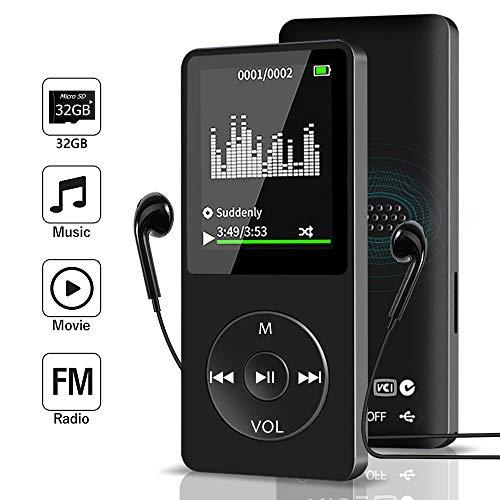 Aigital MP3 Player mit 32GB Speicherkarte,Mini Sport Musik Player,MP3 Player Kinder,mit Lautsprecher/Aufnahmen/Bild/E-Book 1.8 Zoll TFT Bildschirm Speicher Erweiterbar bis 128 GB