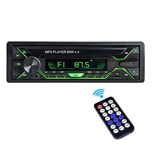 Aigoss Autoradio mit Bluetooth Freisprecheinrichtung, 1 Din Universal 60w x 4 Radio, FM/BT/USB/TF/SD MP3 Media Player, Drahtlose Fernbedienung Enthalten mit 5 Beleuchtungsfarben