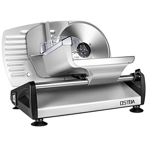 Allesschneider, elektrische Allesschneider rostfreies Edelstahlmesser, Wurstschneidemaschine mit einstellbare Schnittstärke (0-15mm) Käseschneidemaschine, Brotschneidemaschine, 150 W, Silber, ostba