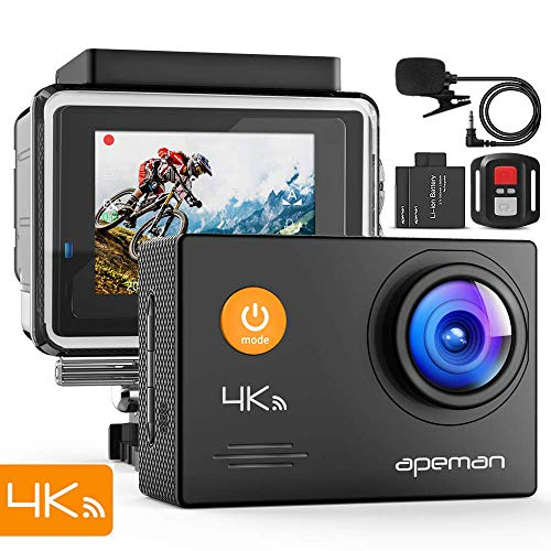 APEMAN Action Cam A79, 4K 20MP WiFi Unterwasserkamera Digitale wasserdichte 40M Helmkamera (2.4G Fernbedienung und Webcam mit externem Mikrofon)