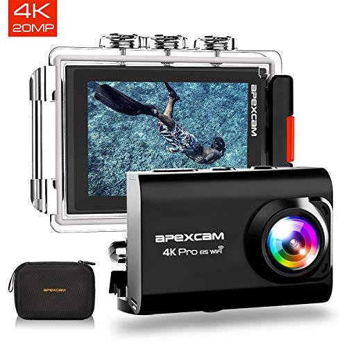 Apexcam Action cam 4K 20MP Sportkamera EIS WiFi wasserdichte Unterwasserkamera 40M Externes Mikrofon 2.0'LCD 170 ° Weitwinkel 2,4G Fernbedienung 2x1200mAh-Batterien und andere