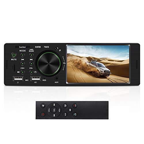 Autoradio mit Bluetooth Freisprecheinrichtung, bedee 4.1 Zoll LCD Monitor Stereo Auto Radio, FM/BT/USB/AUX/SD MP3 MP5 Media Player, Einzel-DIN-Receiver mit 7 Beleuchtungsfarben, 4 x 60W, ISO Stecker