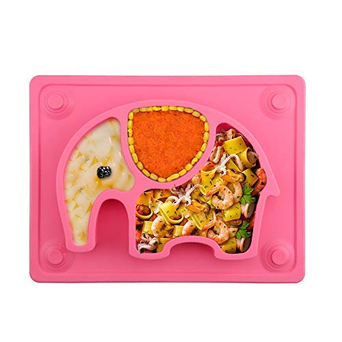 Baby Teller, Silikon Rutschfester Baby Tischset für Baby Kleinkind und Kinder,kinderteller passend für die meisten Hochstuhl-Tabletts 26 x 20 x 3 cm (Pink)
