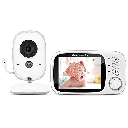"""Babyphone mit Kamera, BOIFUN Smart Baby Monitor Video Überwachung mit 3.2"""" Digital LCD Bildschirm Wireless, VOX, Nachtsicht, Wecker, Temperaturüberwachung, Gegensprechfunktion, Wiederaufladbar"""