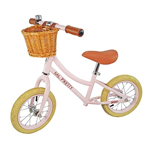 Best Sporting Laufrad Retro für Kinder ab 3 Jahren, mit Klingel und Korb, 12 Zoll Räder (rosé)
