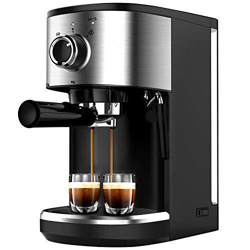 Bonsenkitchen Espressomaschine mit Siebträger, 1450W Hohe Leistung Edelstahl Kaffeemaschine, 15 Bar Siebträgermaschine für Espresso, Cappuccino und Latte Machiato, 1 oder 2 Tassen (CM8902, 1.25L)