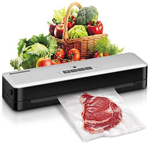 Bonsenkitchen Vakuumierer, Vakuumiergerät automatische Lebensmittel Versiegelung für Trockene und Feuchte Lebensmittel, mit Starter-Kit von 28x300cm Vakuum-Rolle, Schlauch für Vakuumbehälter, Cutter