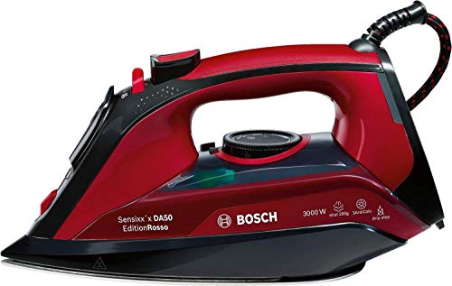 Bosch Dampfbügeleisen TDA503001P, 200g Dampfstoß, 3fach-Entkalkung, 3.000 Watt, schwarz/rot