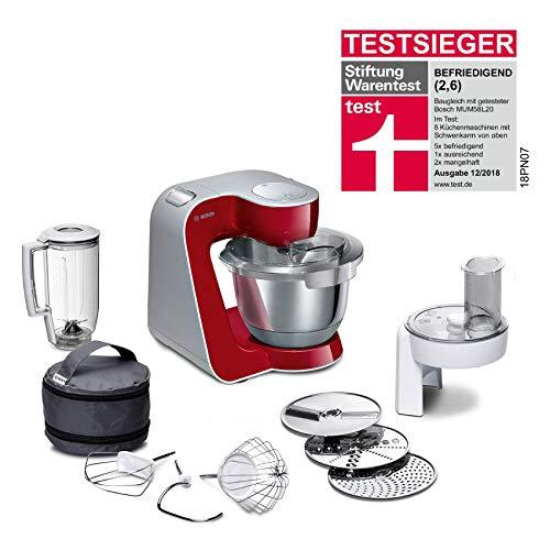 Bosch MUM5 CreationLine Küchenmaschine MUM58720, vielseitig einsetzbar, große Edelstahl-Schüsssel (3,9l), Durchlaufschnitzler, 3 Scheiben, Mixer, 1000 W, rot/silber
