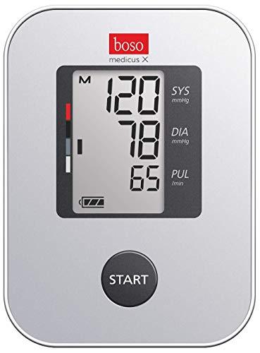 boso medicus X - Bestes Oberarm-Blutdruckmessgerät Stiftung Warentest 5/2016, 11/2018 und 9/2020 mit Einknopfbedienung, großem Display und Arrhythmie-Erkennung – Mit Standard-Manschette (22-32cm)
