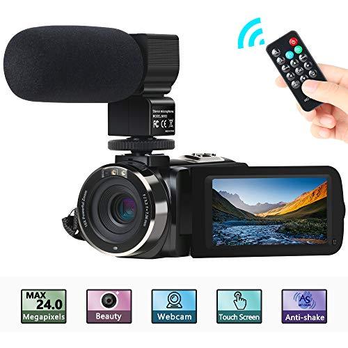 """Camcorder Videokamera, ACTITOP FHD 1080P 30FPS 30MP IR Nachtsicht YouTube Vlogging-Kamera 3""""Touchscreen Digitalcamcorder mit Mikrofon, Fernbedienung, 2 Batterien"""