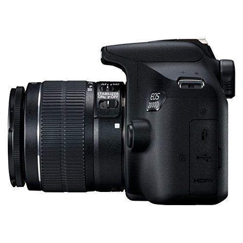 Canon EOS 2000D Spiegelreflexkamera - mit Objektiv EF-S 18-55 IS II (24,1 MP, DIGIC 4+, 7,5 cm (3.0 Zoll) LCD, Display, Full-HD, WIFI, APS-C CMOS-Sensor), schwarz