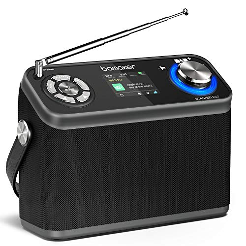 DAB/DAB+/FM Radio 40 Presets, BOMAKER tragbares Digitalradio mit Farb-Birdschirm,12 Stunden Spielzeit(mit AUX,USB, Bluetooth und Kopfhöreranschluss für Küche & Schlafzimmer & Garten
