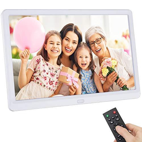 Digitaler Bilderrahmen 10 Zoll, Rokurokuroku Elektronischer Bilderrahmen 1920x1080 Hochauflösend IPS Display für Foto Musik Video Kalender Wecker, Unterstützt USB-und SD-Karte, mit Fernbedienung