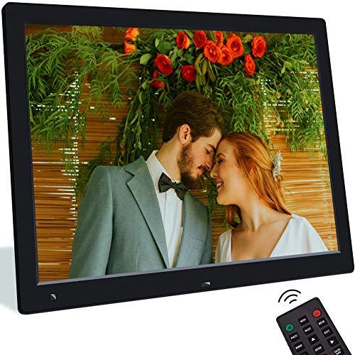 Digitaler Bilderrahmen 15 Zoll Elektronischer Fotorahmen mit Bewegungssensor 1080P Bildschirm Video/Musik/Foto Player mit Kalendar Wecker Diashow Auto EIN/Aus Fernbedienung, Unterstützt USB/SD Karte