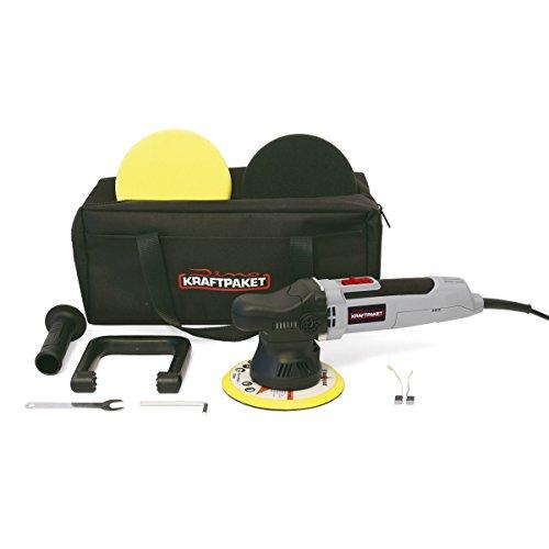 Dino KRAFTPAKET 640220 9mm-650W Exzenter Poliermaschine Stufenlos im Set mit Polierschwamm Polierteller Tasche für Auto KFZ Boot