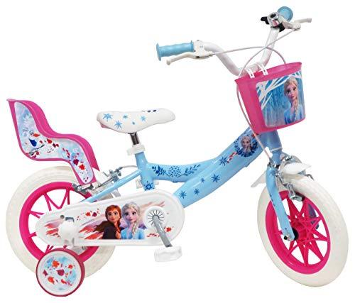 """Disney Fahrrad 12""""Eiskönigin 2 (Frozen II) mit 2 Bremsen, Korb vorne & Puppenhalterung hinten + 2 abnehmbare Stabilisatoren für Mädchen, Himmelblau, Weiß und Fuchsia"""