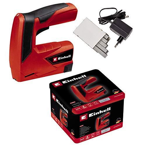 Einhell Akku-Tacker TC-CT 3,6 Li (3,6V, 1,3Ah, 30 Schuss/min, ergonom. Softgrip, Sicherheitsnase, Lieferung inkl. Metallbox, Ladegerät & 1000 Klammer)