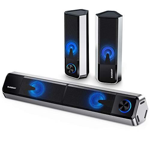 ELEGIANT PC Lautsprecher, Bluetooth 5.0 Computer Lautsprecher 10W trennbare 2.0 Kanal Stereoanlage Mini Soundbar mit Einstellbarer 4 LED Licht Modi für PC Computer Desktop Notebook Smartphone