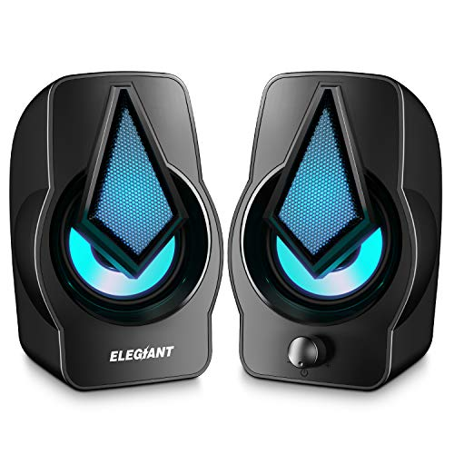 ELEGIANT PC Lautsprecher, USB Computer Lautsprecher 10W 2.0 Stereo Lautsprecheranlage mit Bunter LED-Beleuchtung für PC Computer Desktop Notebook Smartphone
