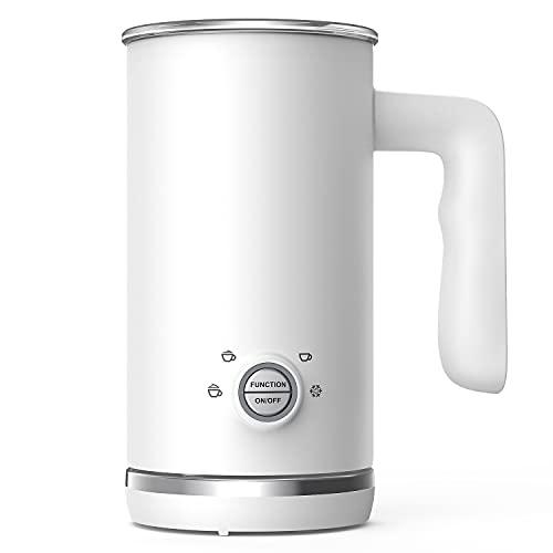 Elemore Home Milchaufschäumer, 4 in 1 Automatischer Milchschäumer und Dampfgarer, 300ml Kalt-Heiß-Milchaufschäumer & Wärmer für Latte Cappuccino, Mode Weiß