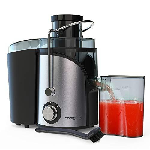 Entsafter, Entsafter für Obst und Gemüse, 2 Geschwindigkeitsstufen und Überhitzungsschutz, Anti-Shake-Design, 500 ml Saftbehälter und Reinigungsbürste, BPA Frei, Von Homgeek