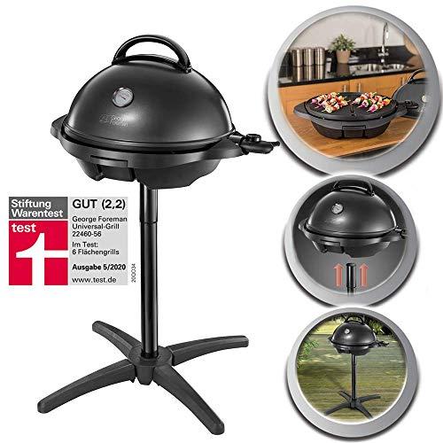 George Foreman Grill 2in1 Elektrogrill: Standgrill & Tischgrill (Innen- & Außennutzung | Balkon & Küche | Ø44,5cm | Temperaturanzeige | Deckel+Cool-Touch Griff | Fettauffangschale | 2400Watt) 22460-56