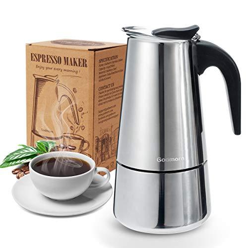 Godmorn Espressokocher, Kaffeekocher, Mokkakanne aus 430 Edelstahl, Espresso Maker für 4/6/10 Tassen, Stovetop Coffee Maker Induktion Herde geeignet, 4 Tassen (200 ml)