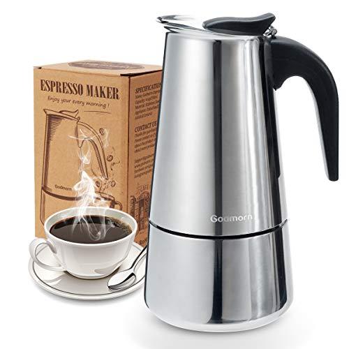 Godmorn Espressokocher, Kaffeekocher, Mokkakanne aus 430 Edelstahl, Espresso Maker für 4/6/10 Tassen, Stovetop Coffee Maker Induktion Herde geeignet, 10 Tassen (450 ml)
