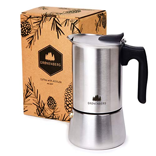 Groenenberg Espressokocher Induktion geeignet | Edelstahl | 4-6 Tassen Espressokanne | 200-300 ml Mokkakanne | Espresso Maker mit Ersatz Dichtung & Anleitung | Aluminiumfrei (6 Tassen (300 ml))
