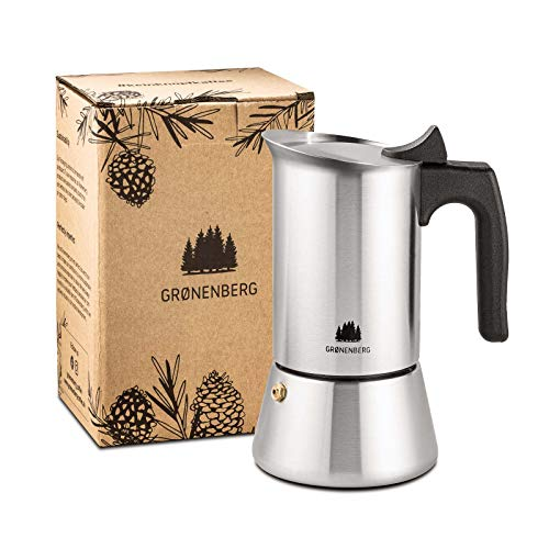 Groenenberg Espressokocher Induktion geeignet | Edelstahl | 4-6 Tassen Espressokanne | 200-300 ml Mokkakanne | Camping Kaffeekocher mit Ersatz Dichtung | Espresso Kocher Alu-frei (4 Tassen (200 ml))