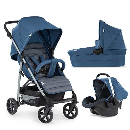 Hauck Kombi Kinderwagen Rapid 4 Plus Trio Set / für Babys ab Geburt / Wanne inkl. Matratze / Reise System mit Autositz / Liegeposition / Schnell Faltbar / Höhenverstellbar / Bis 25 kg / Blau Grau