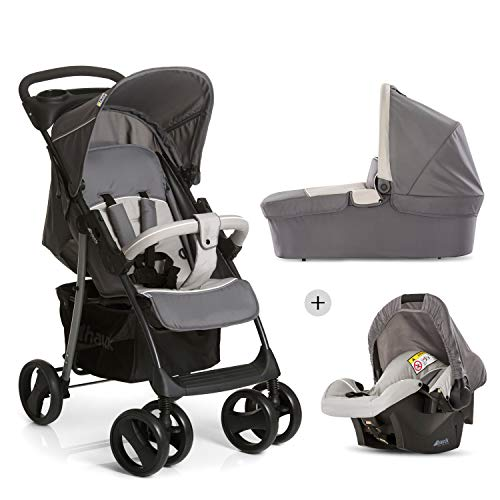 Hauck Shopper SLX Trio Set 3 in 1 Kinderwagen bis 25 kg + Babyschale + Babywanne mit Matratze ab Geburt, Buggy mit Liegefunktion, Getränkehalter, leicht, klein faltbar, stone grey (grau)