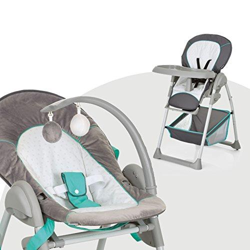 Hauck Sit'n Relax Newborn Set – Neugeborenen Aufsatz und Kinderhochstuhl ab Geburt, mit Liegefunktion / inkl. Spielbogen, Tisch, Rollen / höhenverstellbar, mitwachsend, klappbar, Hearts grau