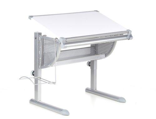 hjh OFFICE Kinderschreibtisch Belia höhenverstellbar + neigbar Weiss/Silber