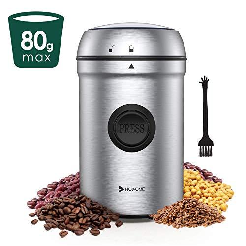 Hosome Kaffeemühle Elektrische Propellermühlen, 80g Kapazität Getreidemühle 25000 U/min Leistungsstarker Motor 55 dB Geräuscharme 304 Edelstahlklingen mit Reinigungsbürste, für Kaffeebohnen Nüsse