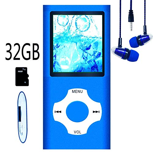 Hotechs MP3-Player/MP4-Player, MP3-Player mit 32 GB Speicherkarte, schlankes Design, digitales LCD-Display, 4,6 cm (1,8 Zoll) Display, FM-Radio (Blau mit Weiß)