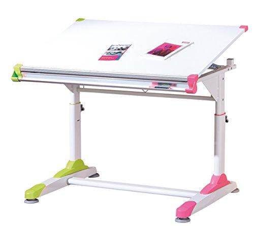 Inter Link Schülerschreibtisch Kinderschreibtisch Arbeitstisch Schreibtisch MDF Weiss BxHxT: 100 x 69-84 x 66 cm