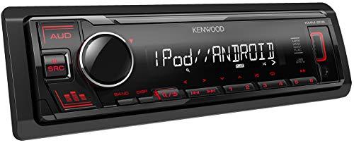 Kenwood KMM-205 USB-Autoradio mit RDS (Hochleistungstuner, MP3, WMA, FLAC, AUX-Eingang, Android Control, Bass Boost, 4x50 Watt, Rot) Schwarz