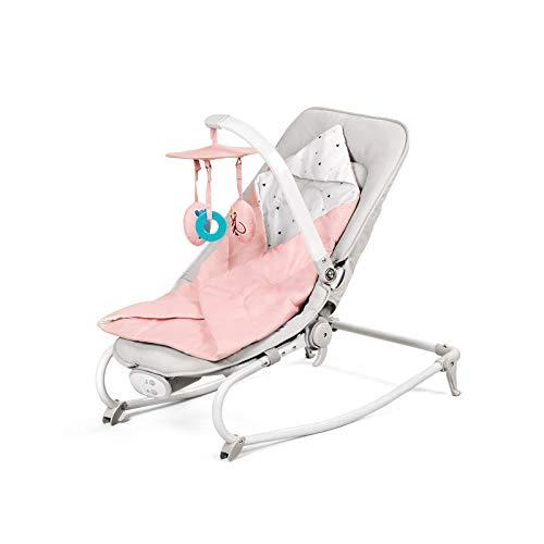 Kinderkraft Babywippe FELIO 3 in 1, Babywippe, Babyliege, Babyschaukel, Wippe, Schaukel, Babytuch mit Spielbogen, Verstellbarer, 8 Melodien mit 8-stufiger, ab Geburt, Rosa