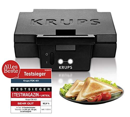 Krups Sandwichmaker FDK451 | für gegrillte Sandwichtoasts in Dreiecksform | Antihaftbeschichtete Platten (Leichte Reinigung, Kein Anbrennen) | Aufheiz- und Temperaturkontrollleuchte | 850W