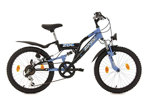 "KS Cycling Kinderfahrrad Mountainbike Fully 20"" Zodiac schwarz-blau RH 31 cm"