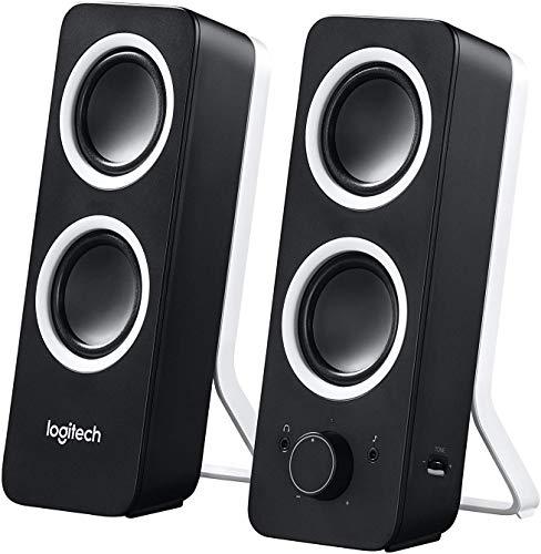 Logitech Z200 2.0 Lautsprecher mit Subwoofer, Surround Sound, 10 Watt Spitzenleistung, 2x 3,5 mm Eingänge, Lautstärke-Regler, EU Stecker, PC/TV/Smartphone/Tablet - Midnight Black/schwarz