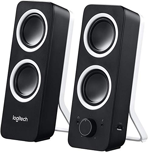 Logitech Z200 2.1 Lautsprecher mit Subwoofer, Surround Sound, 10 Watt Spitzenleistung, 2x 3,5 mm Eingänge, Lautstärke-Regler, EU Stecker, PC/TV/Smartphone/Tablet - Midnight Black/schwarz