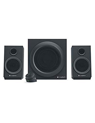 Logitech Z333 2.1 Lautsprecher-System mit Subwoofer, Satter Bass, 80 Watt Spitzenleistung, 3,5 mm & Cinch-Eingänge, Multi Device, Steuergerät, EU Stecker, PC/PS4/Xbox/TV/Smartphone/Tablet - schwarz