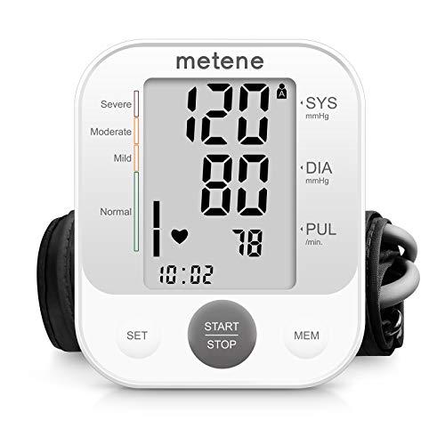 Metene Blutdruckmessgerät Oberarm, Vollautomatisch Digitales einstellbares Blutdruckmanschetten-Set für den Heimgebrauch, Großes Display mit 240-Satz-Speicher und Batterien im Lieferumfang enthalten
