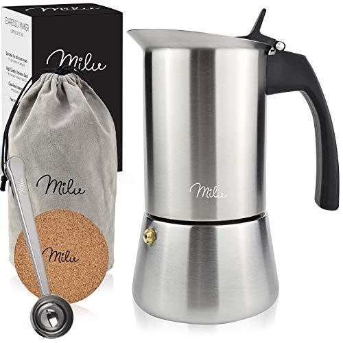 Milu Espressokocher Induktion geeignet, | 2, 4, 6 Tassen| Edelstahl Mokkakanne, Espressokanne, Espresso Maker Set inkl. Untersetzer, Löffel, Bürste (Edelstahl, 4 Tassen (200ml))