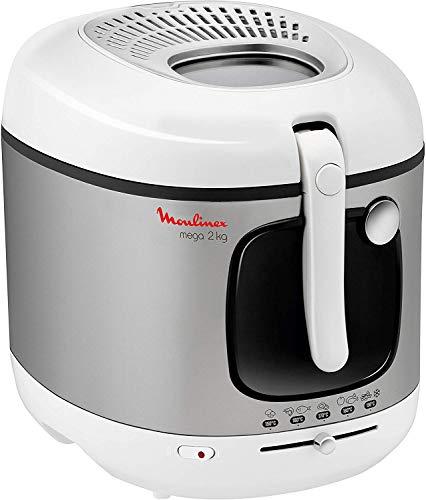 Moulinex AM4800 Mega 2kg Fritteuse | Fritteuse mit Öl | Anti-Geruchs-Filter | regelbare Temperatur | leichte Reinigung | knusprige Pommes | 1.800 Watt | für bis zu 8 Personen | Weiß/Silber